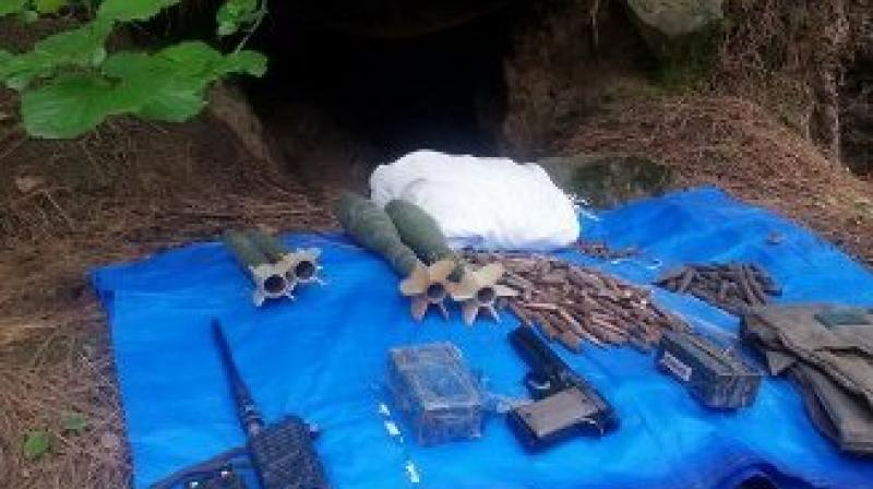 The cache of arms that was seized from the hideout. (Photo: ANI/Twitter)