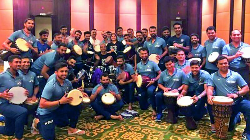 Indian team during a drumming session to unwind themselves on the penultimate day of their preparatory camp in Bengaluru. (Photo: Twitter)