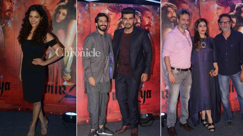 The team of 'Mirzya' hosted a bash for their film, which was attended by Arjun Kapoor, Raveena Tandon and the stars of the film. (Photo: Viral Bhayani)