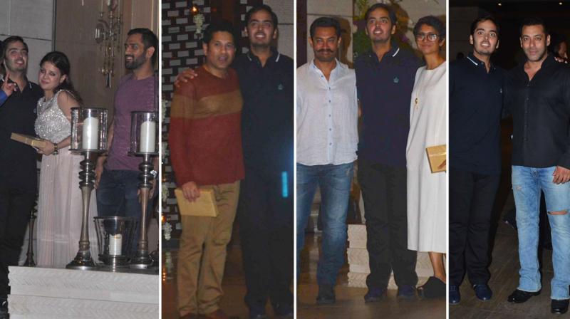 Anant Ambani held a star studded 21st birthday bash at his plush residence on Saturday night, that saw ace cricketers like MS Dhoni, Sachin Tendulkar and Bollywood stars like Aamir Khan and Salman Khan in attendance. Photo: Viral Bhayani