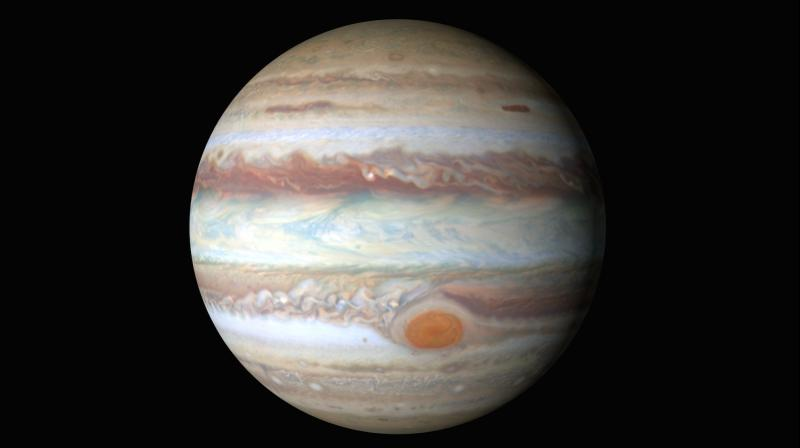 Jupiter is at its closest to the Earth and the hemisphere facing our planet is fully illuminated by the Sun