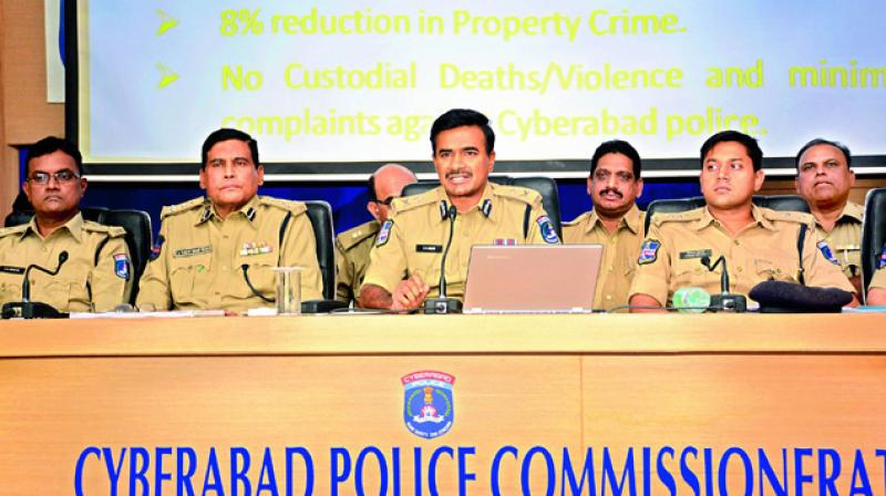 Cyberabad Police Comissioner C.V. Anand and other police officials at commissionerate office. (Photo: DC)