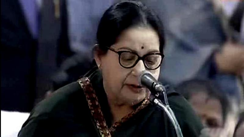 AIADMK supremo J. Jayalalithaa taking her oath as Chief Minister (Photo: Videograb)