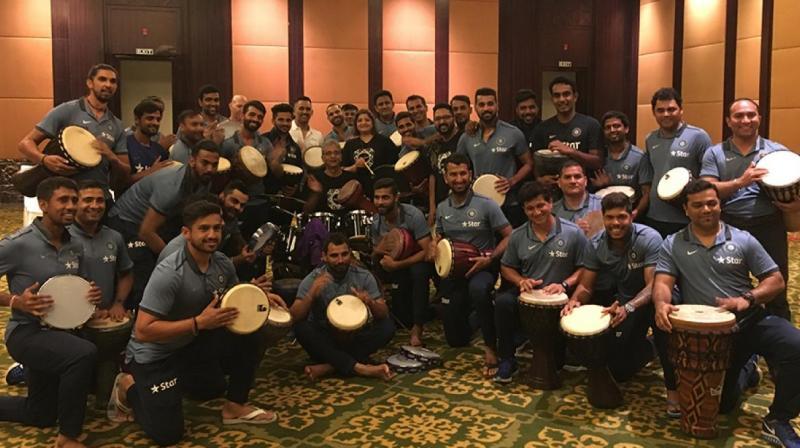 Team India had a unique team bonding session with acclaimed actor-musician Vasundhara Das' group 'Drumjam'. (Photo: BCCI)