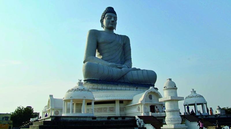 A view of the Dhyana Buddha statue in Amaravati, which will be a tourist atraction for Krishna Pushkaralu.