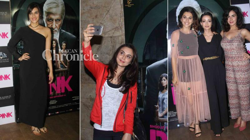 Preity Zinta, Kriti Sanon and numerous other celebrities attended the screening of the upcoming film 'Pink' starring Amitabh Bachchan, Taapsee Pannu among others. (Photo: Viral Bhayani)