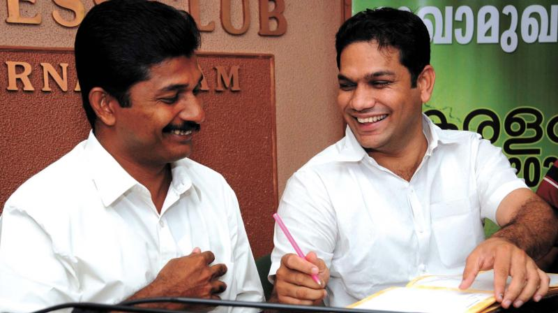 LDF MLA M. Swaraj and UDF MLA Hibi Eden meet the press jointly at the Ernakulam Press Club in Kochi on Tuesday. (Photo: DC)