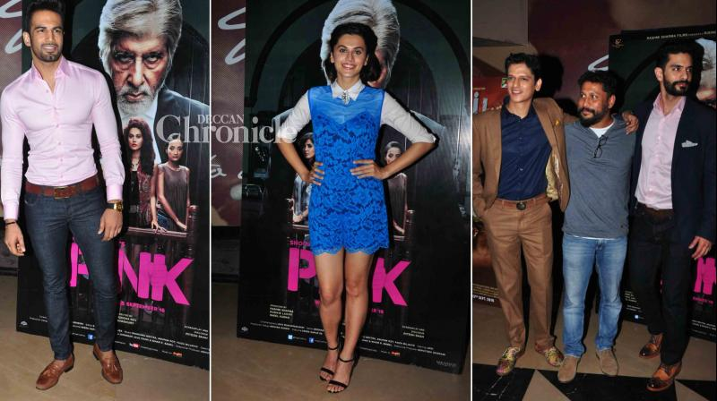 Celebrities from Bollywood and TV industry on Tuesday graced the screening of upcoming film 'Pink' starring Amitabh Bachchan, Taapsee Pannu among others. (Photo: Viral Bhayani)