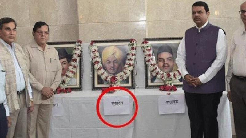 At the Martyrs Day event on Wednesday, Chief Minister Devendra Fadnavis paid tributes to freedom fighters Bhagat Singh, Sukhdev and Rajguru, who were hanged in Lahore on March 23, 1931. (Photo: Twitter)