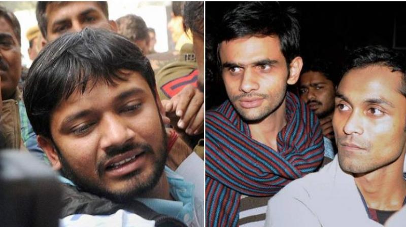 The Delhi police told a court that the three JNU students, Kanhaiya Kumar, Umar Khalid and Anirban Bhattacharya, cooperated in the sedition case relating to the alleged anti-India slogan-shouting at the university campus in February. (Photo: PTI)