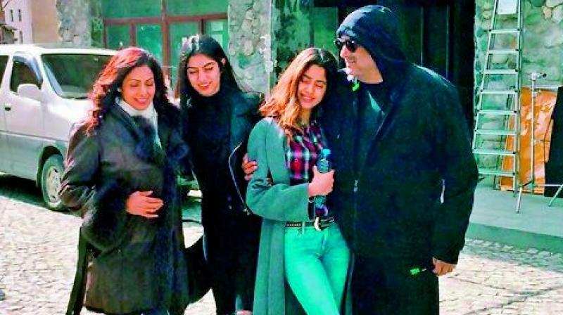 Apart from Sridevi's husband and film's crew, her daughters Jhanvi and Khushi also tagged along to Georgia
