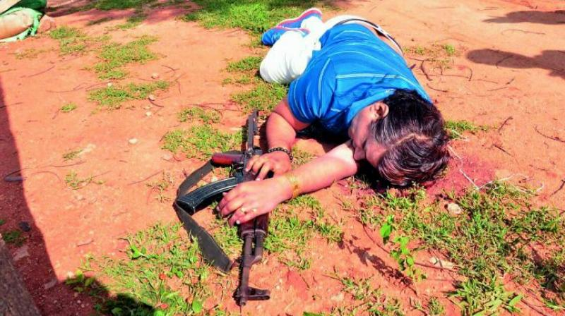 The body of Nayeem found at the site of the encounter with the police. Nayeem fired several shots at the police using his gun. (Photo: DC)