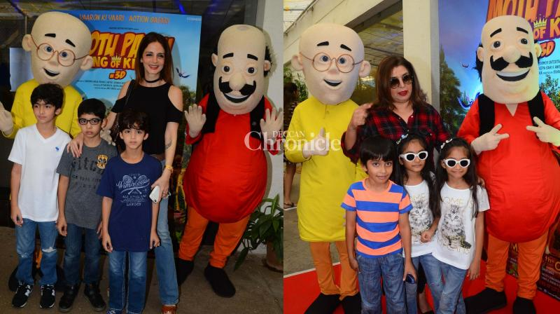 Farah Khan hosted a screening of the film 'Motu Patlu: King of Kings' for her friends from the film industry on Sunday, which was attended by Sussanne Roshan, Sonali Bendre Behl, their kids and several other celebrities. (Photo: Viral Bhayani)