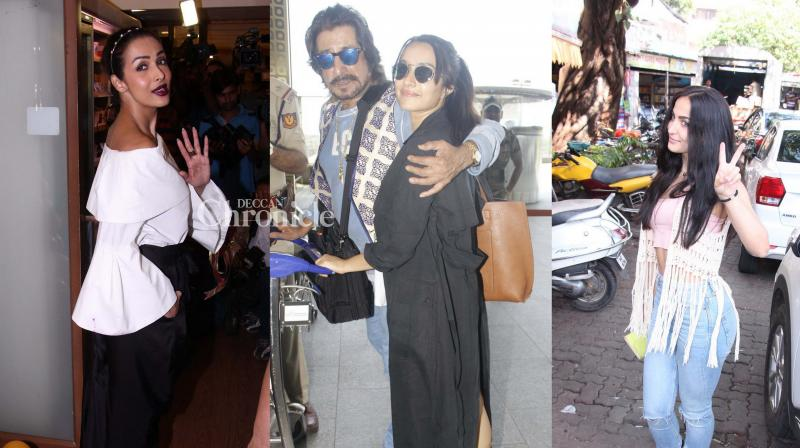 Shraddha Kapoor and her father Shakti Kapoor were snapped at the airport while Malaika Arora Khan and Elli Avram were spotted at various locations in Mumbai on Saturday. (Photo: Viral Bhayani)