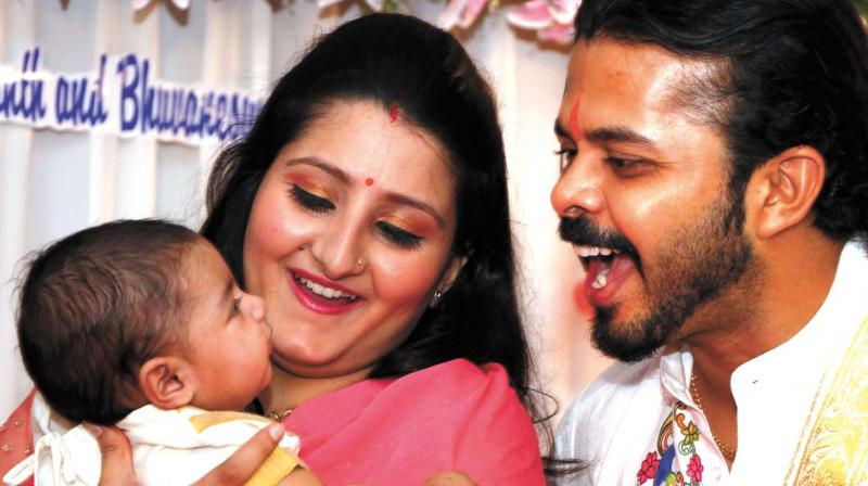 Sreesanth with wife and daughter