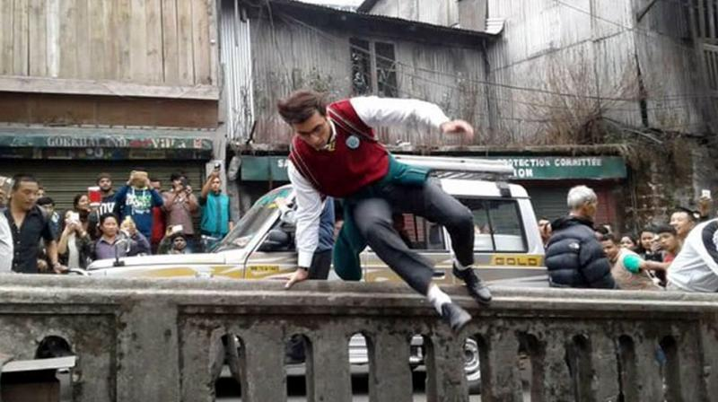 Ranbir was spotted shooting a dangerous stunt scene for Jagga Jasoos in Morocco.