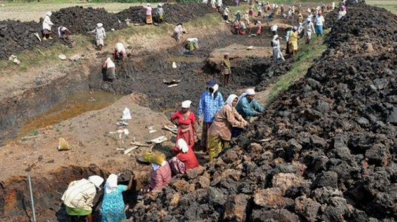 Women are engaged in canal digging work under the MGNREGA scheme. (Photo: PTI)