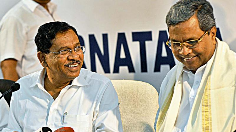 ome Minister Dr G. Parameshwar and Chief Minister Siddaramaiah address the media in Bengaluru on Tuesday (Photo: DC)
