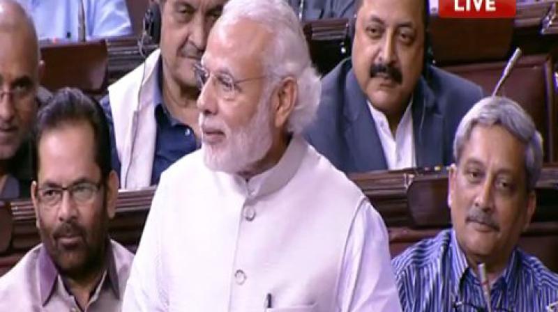 Prime Minister Narendra Modi speaks in Rajya Sabha. (Photo: video grab)