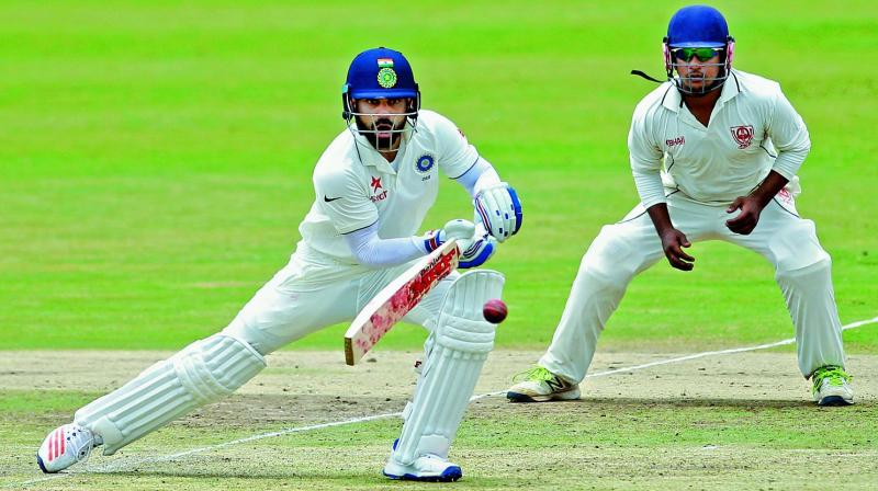 Virat Kohli during a practice match in Alur on Sunday. (Photo: PTI)