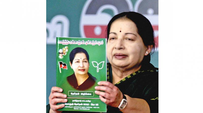 The AIADMK manifesto has promised waiver of all farm loans, earmarking Rs 1,40,000 crore to be disbursed as loans to farmers for the next five years, free laptops with internet for SSLC and HSC students.