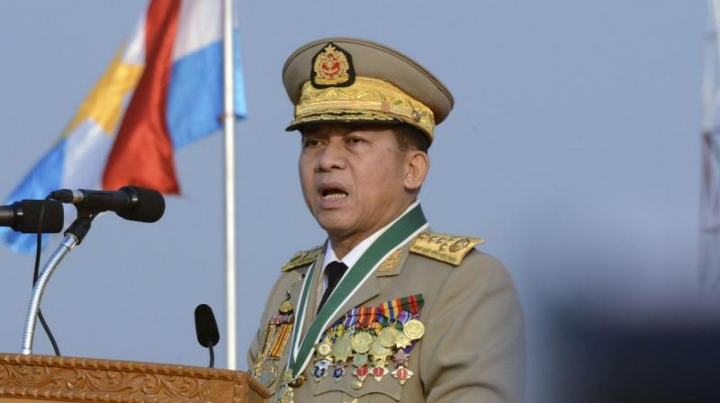 Myanmar's Commander-in-chief Senior Gen. Min Aung Hlaing speaks during a ceremony to mark the 70th anniversary of Armed Forces Day in Naypyitaw, Myanmar. (Photo: AP)
