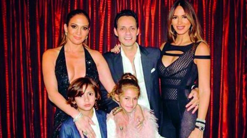 All smiles: Jennifer Lopez, Marc Anthony, Shannon De Lima, Max and Emme