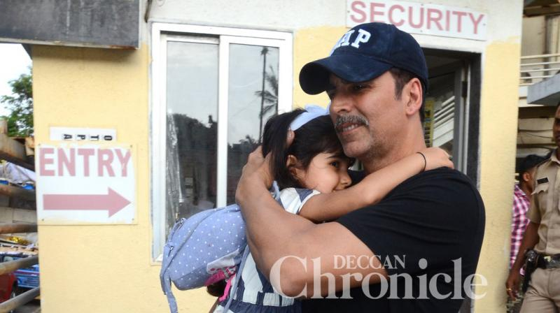 Actor Akshay Kumar is always careful to keep daughter Nitara away from the glare of the flash bulbs.