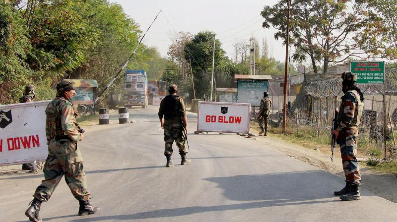 Soldiers guard at the Army base camp during a militants attack in Baramulla district of north Kashmir. (Photo: PTI)