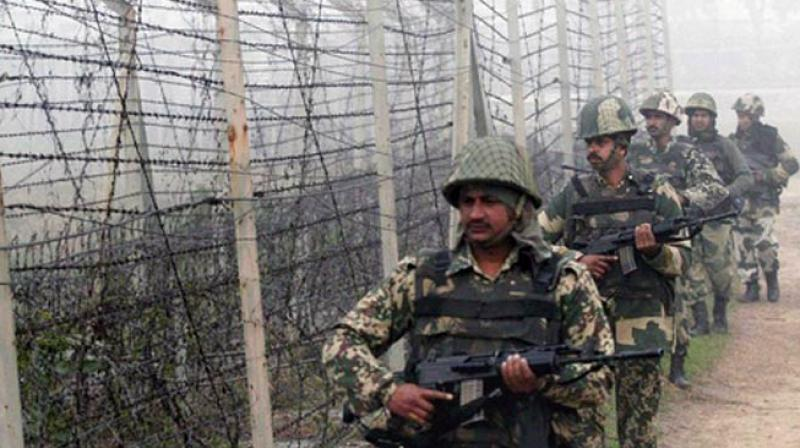 BSF personnel patrol along the India-Pakistan border. (Photo: PTI/File)
