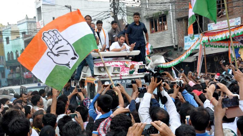ongress Vice-President Rahul Gandhi during his 'Kisan Yatra' in Moradabad. (Photo: PTI)