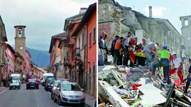 The 13th Century bell-tower of Amatrice before and after the earthquake. (Photo: AP)