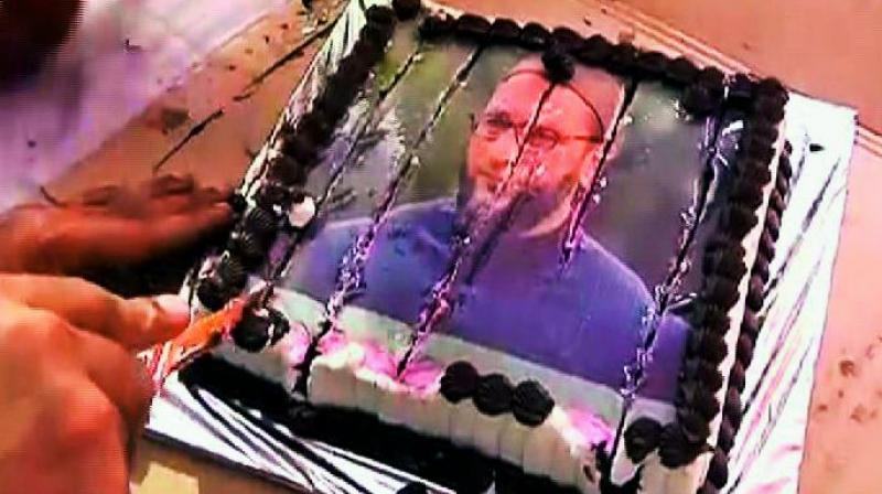 The Photograph Of Cake With Owaisi Face Which Went Viral