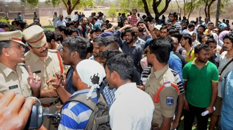 Students of Hyderabad Central University demanding justice for dalit scholar Rohith Vemula, holding a protest demonstration against the University VC (Photo: PTI)