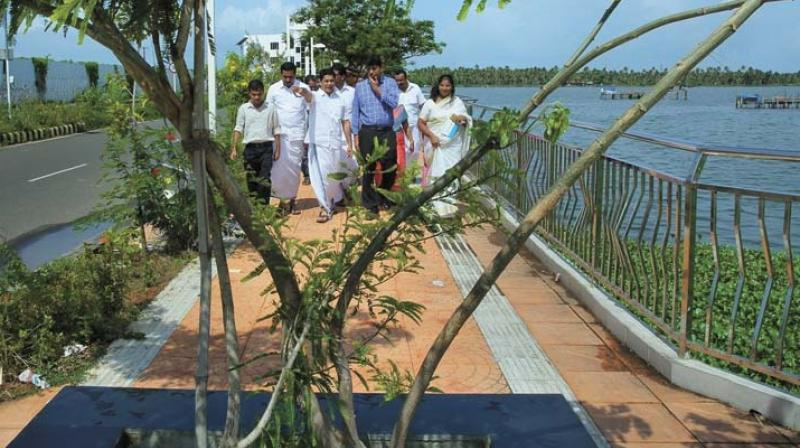 Hibi Eden, MLA, and district collector Muhammad Y Safirulla visit Queens Walkway with other officials. (Photo: DC)