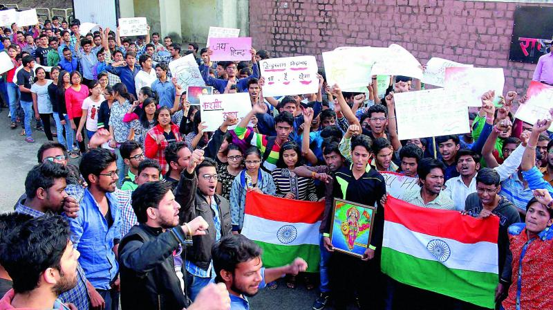 Students protest in Bhopal  the JNU stir