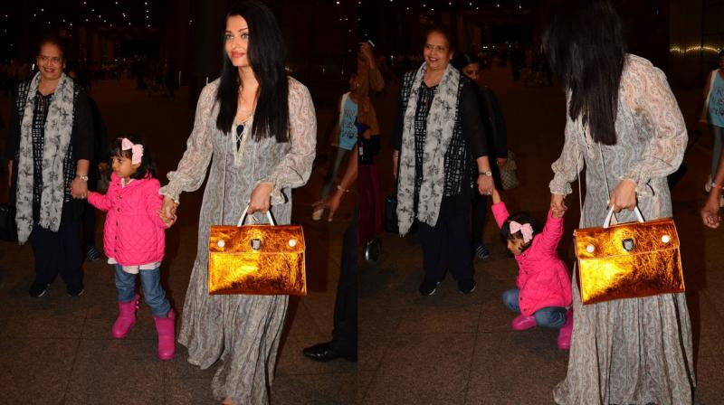 Aishwarya Rai Bachchan returned home from Cannes with her baby girl Aaradhya and mother Brindya last evening. Photo: Viral Bhayani
