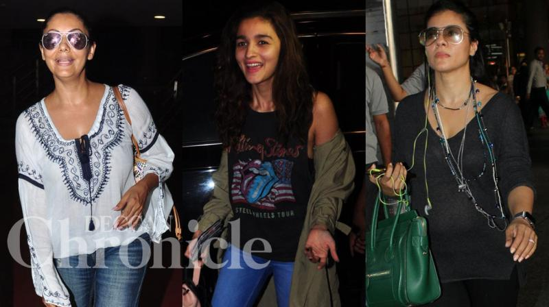 Shah Rukh Khan's leading ladies Gauri Khan, Alia Bhatt and Kajol were spotted at the airport on Monday. Photo: Viral Bhayani