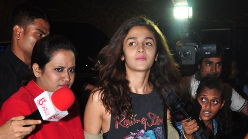 Alia was photographed en-route to Singapore for Gauri Shinde's film. Photo: Viral Bhayani