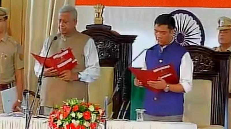 Pema Khandu, who has the support of 44 other MLAs in the Arunachal Assembly, taking oath on Sunday (Photo: ANI Twitter)