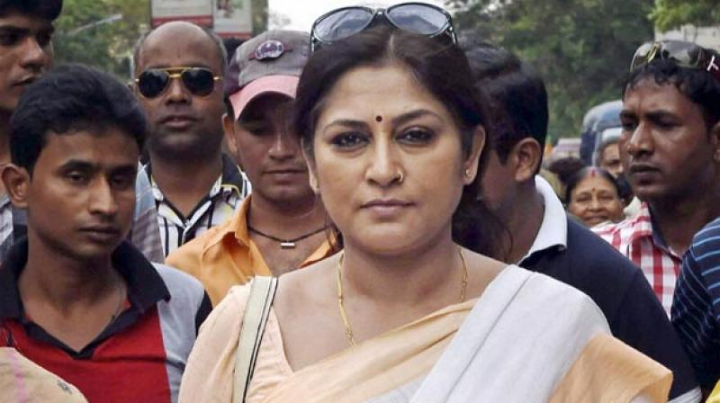 The police stopped the rally, also attended by Roopa Ganguly and Locket Chatterjee, at Asutosh Mukherjee Road (Photo: PTI)