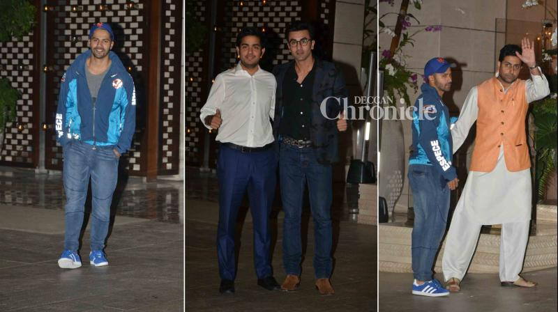 Ranbir Kapoor, Varun Dhawan, Abhishek Bachchan, John Abraham, who are associated with football clubs in the Indian Super League, were snapped as they arrived for a meeting at Mukesh Ambani's residence in Mumbai. (Photo: Viral Bhayani)
