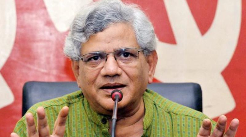 "CPI(M) general secretary Sitaram Yechury on Friday hit out at the Centre over reports that rural household consumption had slumped to a seven-year low, saying the ""callous"" government is enthusiastic about writing off unpaid loans of rich borrowers and tax cuts for the super-rich but shows no signs of concern over the slowdown. (Photo: File)"