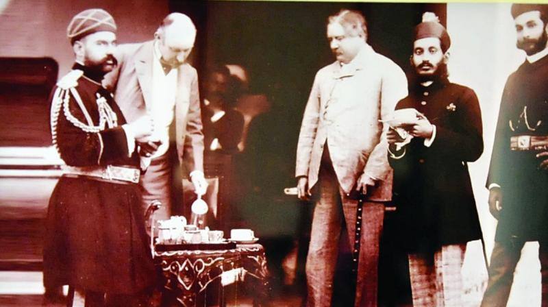 Nawab Mir Mahbub Ali khan showing his jewels to European visitors dated 1895.