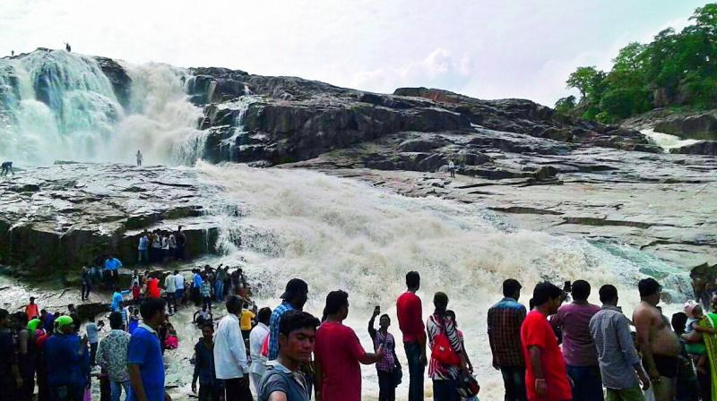 The Kuntala waterfalls, 30 km from Nirmal in Adilabad district.