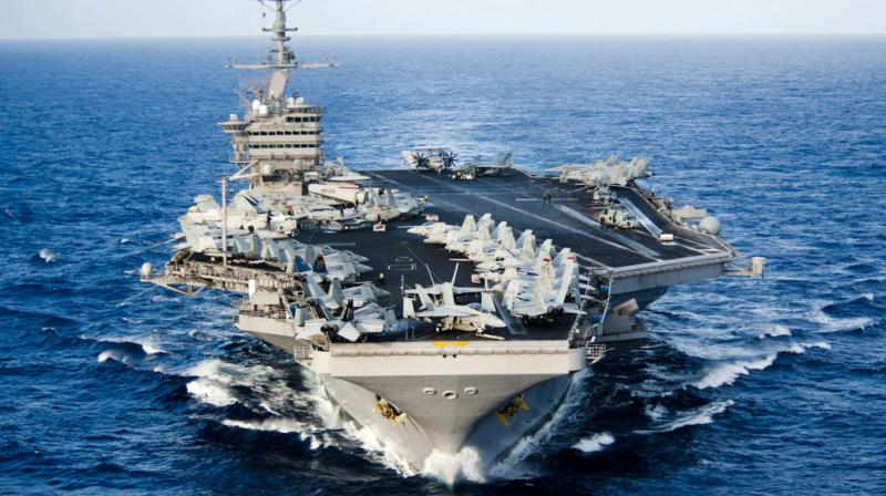 The 100,000 ton Stennis, which carries F-18 fighter jets, joined nine other naval ships. (Photo: AP/File)