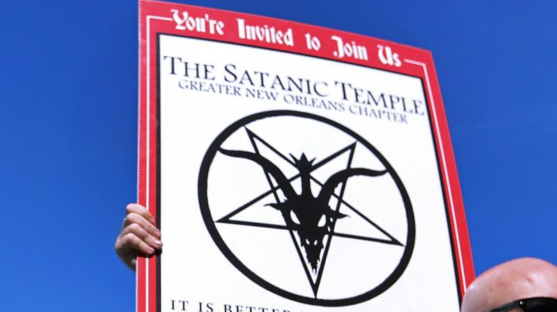 The center's most arresting artwork is a one-ton, 7-foot (2.13-m) bronze statue of Baphomet (Photo: AFP)
