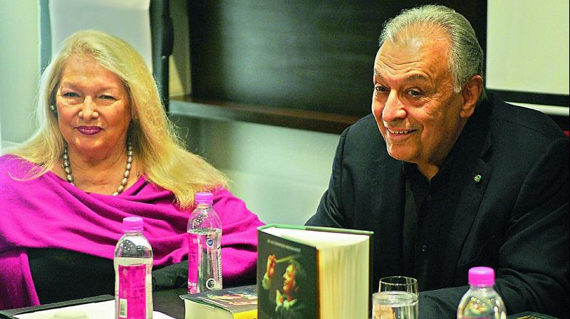Zubin Mehta and wife Nancy Kovack during the launch of his biography,  Zubin Mehta: A Musical Journey, in Mumbai.