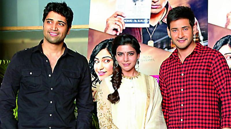 Adivi Sesh, Samantha and Mahesh Babu at the launch.