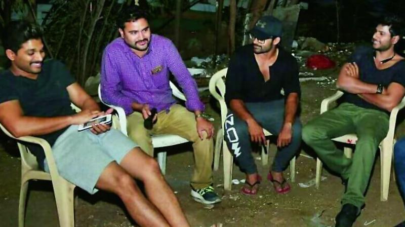 Actor Allu Arjun visited the sets of Okka Ammayi Thappa that stars Sundeep Kishan and Nithya Menen.